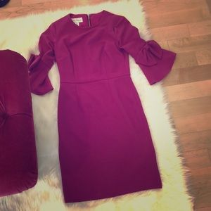 Fuschia pink bell sleeve with bows dress